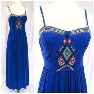 Flying Tomato Blue Boho Maxi Dress